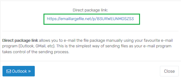 generate file package link